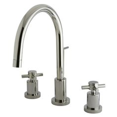 Elements of Design Concord Double Handle Single Hole Widespread Bathroom Faucet with Brass Pop-Up