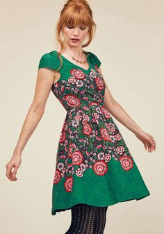 You Can Fete On It A-Line Dress by ModCloth - Green, Pink, Solid, Floral, Print, Special Occasion, Party, Daytime Party, Wedding Guest, Vintage Inspired, 50s, Fit & Flare, Short Sleeves, Woven, Exceptional, Exclusives, V Neck, Mid-length, ModCloth Label, Fall