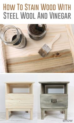 Did you know you can easily stain furniture with items you have in your pantry and under your sink? With a little kitchen chemistry, you can mix natural stains to use for various DIY décor projects for your home. Get a stained and weathered look without the fumes in half the time using this vinegar and steel wool trick.  http://www.ehow.com/how_4486385_stain-wood-steel-wool-vinegar.html?utm_source=pinterest.com&utm_medium=referral&utm_content=freestyle&utm_campaign=fanpage