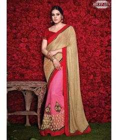 Pink & Beige Colour Net & Lycra Ebroidered & Patch Work Saree