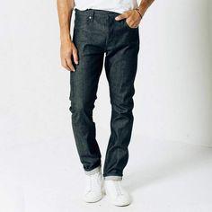 db87211b DSTLD Skinny-Slim Raw Jeans in Selvedge Indigo - Grey Raw Jeans, Raw Denim