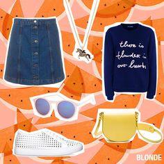 Unser Outfit der Woche: Rock Topshop, ca. 38 Euro Sweater MALAIKARAISS, ca. 100 Euro Kette MALAIKARAISS, ca. 60 Euro Tasche CLOSED, ca. 300 Euro Schuhe Tiger of Sweden, ca.150 Euro Sonnenbrille REVIEW, ca.13 Euro