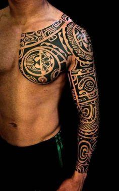 """Sleeve"" tattoo for girls and boys - maori tattoos - Tattoo sleeve for girls and boys - Tribal Chest Tattoos, Aztec Tribal Tattoos, Tribal Shoulder Tattoos, Chest Tattoos For Women, Girls With Sleeve Tattoos, Boy Tattoos, Tattoos For Guys, Eagle Tattoos, Cross Tattoos"