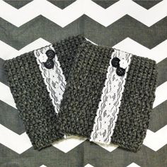 Crochet Boot Cuffs with Lace and buttons- Charcoal