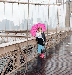 Brooklyn Bridge in the Rain - Pretty in Pink Megan