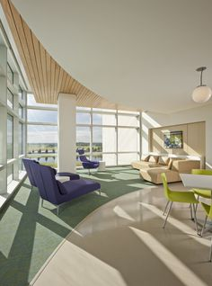 Wood recessed into gyp wall. Nemours Children's Hospital / Stanley Beaman & Sears