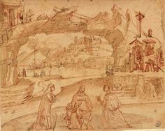 "vittore carpaccio - ""sacra conversazione"", pen and brown ink, brown wash, over red chalk"