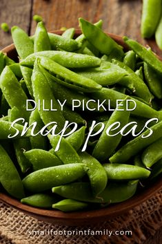 These easy, delicious pickled Dilly Snap Peas will preserve your snap pea harvest and delight your taste buds all summer with their bright, fresh crunch! Pea Recipes, Real Food Recipes, Healthy Recipes, Grain Free, Dairy Free, Snap Peas Recipe, Raw Vegan, Vegan Vegetarian, Canning Recipes