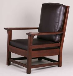 Large Early Gustav Stickley Armchair c1901-1902 with Notched Arms. Unsigned. Refinished.