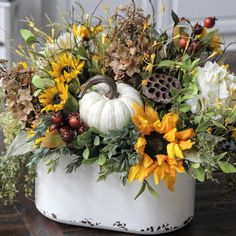 Updates from SimplyStems on Etsy Fall Floral Arrangements, Pumpkin Centerpieces, Autumn Decorating, Arte Floral, Fall Wreaths, Advent Wreaths, Thanksgiving Decorations, Harvest Decorations, Fall Flowers