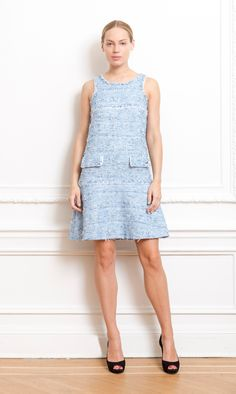 Chanel blue fantasy tweed dress - Couture Collective