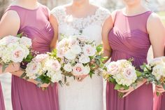 Pink and white spring bouquets White Springs, Spring Bouquet, Bridesmaid Dresses, Wedding Dresses, Bouquets, One Shoulder Wedding Dress, Floral Design, Pink, Fashion