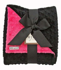 Hot Pink and Black Baby Girl Minky Blanket by MEG Original. $36.00, via Etsy.