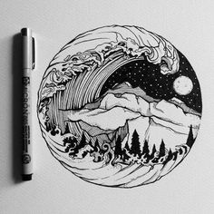 By pen art drawings, ink art, circle art. Circle Drawing, Circle Art, Circle Painting, Art Sketches, Art Drawings, Tattoo Sketches, Stylo Art, Natur Tattoos, Nature Drawing