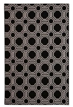 34.35 Add College Rugs - Mosaic Circle College Rug - Black and White - College Decor Is Essential