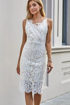White Lace Eyelash Spaghetti Strap Midi Dress – ModeShe.com #dresses #whitedress Dresses To Wear To A Wedding, Formal Dresses, Lace Dresses, Aesthetic Fashion, Aesthetic Style, Midi Dresses Online, Dress Collection, White Lace, Fashion News