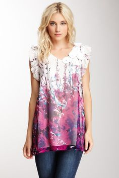 Floral Print Trend/Silk Printed Pocket Tunic by Blue Tassel on @HauteLook