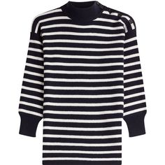 Alexander McQueen Wool Striped Pullover ($565) ❤ liked on Polyvore featuring tops, sweaters, stripes, wool pullover sweater, striped pullover, pullover sweater, 3/4 sleeve tops and blue top