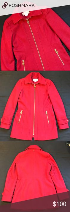 Red Michael Kors Women's Trench Coat - Size 2P EUC Red Michael Kors Women's Trench Coat | Great Condition | No Signs of Damage | Durable Cost | 60% WOOL | Stylish Winter Coat Michael Kors Jackets & Coats Trench Coats