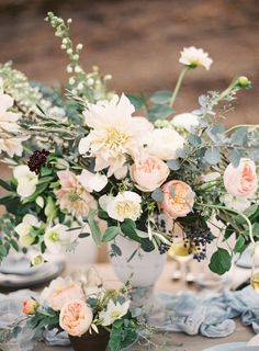 Earthy Lakeside Wedding Inspiration on Style Me Pretty. Floral and Design: The Southern Table | Photo: Kayla Barker Photography | Runner: Silk and Willow |