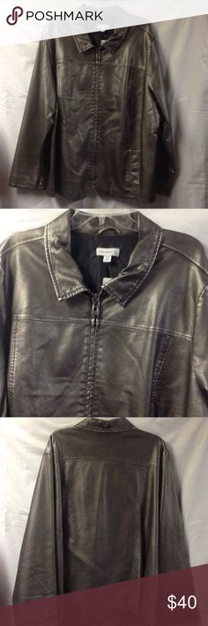 Susan Graver faux leather metallic jacket. 3X This jacket is in very good condition. Maybe worn once. It zippers up the front and has two front pockets. QVC item. Size 3X. Completely lined. The color is pewter. Susan Graver Jackets & Coats Trench Coats