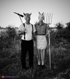 Katharine: Our costumes were inspired by old creepy black and white Halloween photos. We wanted to reproduce the Halloween of the early 1900s and dress as people in those days. Masks...