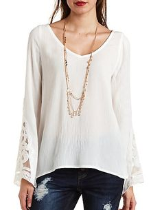 Embroidered Bell Sleeve Tunic Top#charlotterusse #charlottelook