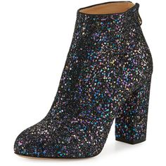Charlotte Olympia Alba Glitter Fabric Block-Heel Bootie ($924) ❤ liked on Polyvore featuring shoes, boots, ankle booties, night sky blue, shoes booties, block heel boots, glitter boots, charlotte olympia booties, back zip boots and glitter ankle boots