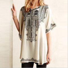 Loose Fashion Print Buttoned Shirt