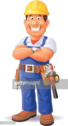 A smiling construction worker having his arms crossed, isolated on white. EPS 8, grouped and labeled in layers.