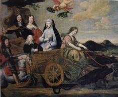 Allegorical painting of Mariana of Austria with her daughter Margarita and son Charles II and brother/son-in-law Leopold of Austria