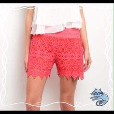 HP 6/24/16. Pretty flirty girly Girl Coral colored. Crochet shorts. Available in Small waist 27 hips 32. Shorts
