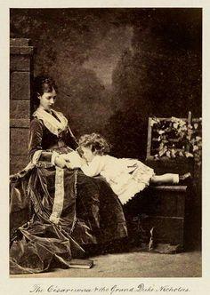 Marie Feodorovna with her first born son Tsarevich Nicolas Alexandrovich circa1870.
