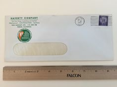 """Item: fc_19570507_1 Advertising cover approx. 4"""" x 9 1/2"""" (window envelope) Condition: very good –  yellowing due to age and some minor creases  Haverty Company """"the finer things in plumbing and heating"""" Mechnical – CONTRACTORS – Sanitory 2245 McKinley Ave – P.O. Box 308 Fresno, California  An Undivided Responsibility We Sell Install Service Guarantee Member National Association of Master Plumbers  Postmark: FRESNO MAY 7 9 AM 1957 CALIF. Stamp: 3c Liberty First Class"""