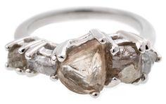 Custom Cluster Rough Diamond Ring in platinum