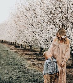 trees in blossom, mama and son photos