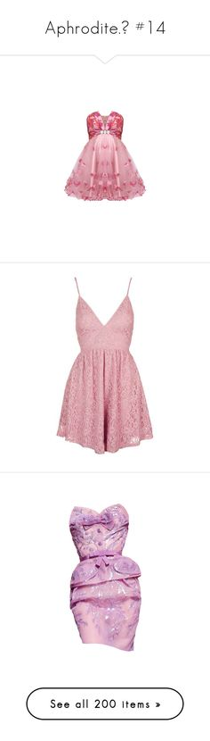 """""""Aphrodite.♡ #14"""" by xiuchen-was-taken ❤ liked on Polyvore featuring dresses, vestidos, pink, short dresses, pink mini dress, pink red dress, red cocktail dress, short pink dress, red dress and rompers"""