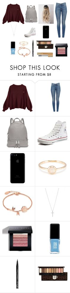 """winter school day"" by kayleebrookeblack ❤ liked on Polyvore featuring Michael Kors, Converse, Disney, Bobbi Brown Cosmetics, JINsoon, NYX, Etude House, Yves Saint Laurent, kayleebrookefashion and kbwtw"