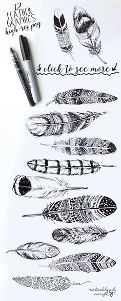 BOHO RUSTIC FEATHERS Graphics This rustic boho collection of feathers is perfect for all your DIY designing needs. It is perfect f by WeLivedHappilyEverAfter Et Tattoo, Feather Art, Feather Design, Henna Feather, Feather Sketch, Feather Drawing, Tattoo Feather, Feather Painting, Arte Sketchbook