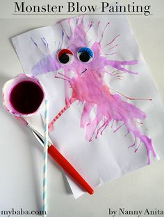 Monster blow painting is a fun halloween craft for kids of all ages. It's also really good for helping develop oral skills Halloween Crafts For Kids, Halloween Fun, Fun Crafts, Arts And Crafts, Blow Paint, Ghost Pictures, Paper Straws, Painted Paper, Fun Things