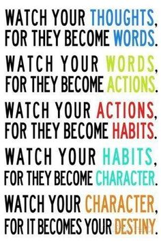 Watch Your Thoughts Colorful Motivational Custom Decoractive Wallpaper Print Poster Wall Sticker 20 X 30 Inch