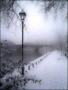 Snow / fog / bridge / street lamps