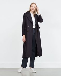 Image 1 of EXTRA LONG COAT WITH METALLIC BUTTONS from Zara