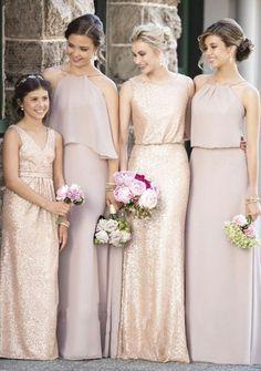 Golden+Dusty Pink Bridesmaid Dresses #weddingtips