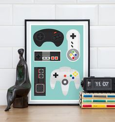 video game poster, geekery print, retro poster, game controller, man cave art, nursery art, play room decor A3, 11x14