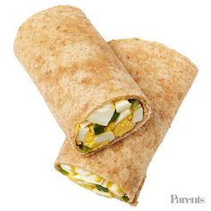 Egg-salad wrap (chopped leftover hard-boiled egg and chopped bell peppers tossed in vinaigrette; roll up in an 8-inch tortilla) Sliced pears with lemon juice Terra Sweet Potato Chips