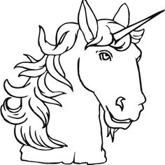 A Head Figure of Unicorn and Its Spiraling Horn Coloring Page