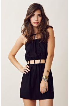 indah | cut out trim mini dress