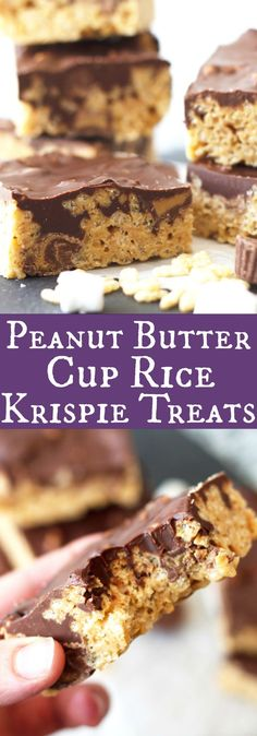 Peanut Butter Cup Rice Krispie Treats -peanut butter flavored rice krispies, studded with mini peanut butter cups, topped with a peanut butter chocolate topping! | www.countrysidecravings.com: