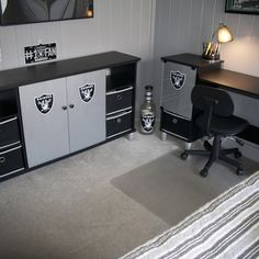 Entertainment center with desk handmade raiders desk entertainment cent Entertainment Weekly, Diy Entertainment Center, Hemnes, Raiders Baby, Okland Raiders, Raiders Stuff, Oakland Raiders Football, Pittsburgh Steelers, Dallas Cowboys